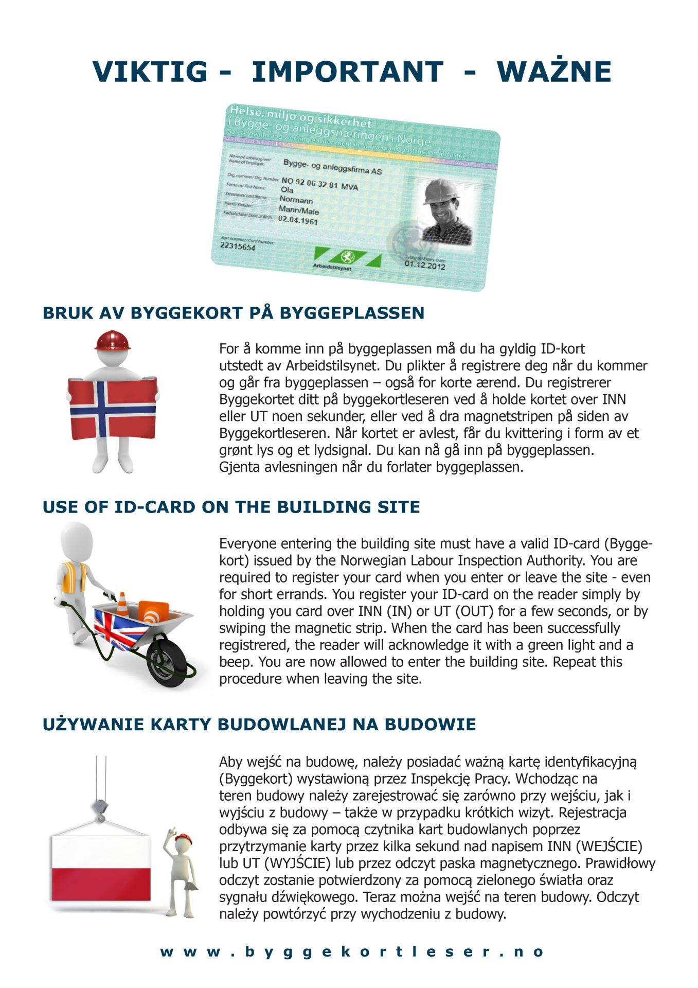 Bruk av byggekort på byggeplassen